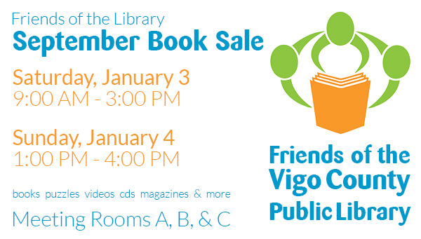 Friends of the Library Logo and Booksale Information