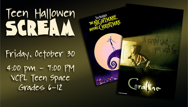 Posters: Coraline & The Nightmare Before Christmas with Teen Halloween Scream Information