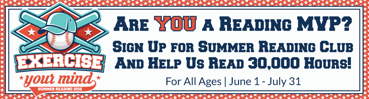 Exercise Your Mind: Summer Reading 2016 Logo: Baseball wearing Baseball Cap and Two Bats in Behind