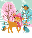 Illustration of Reindeer in Wintry Scene