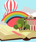 Open Book with Rainbow, Trees, a Building and Two Hot Air Balloons