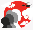 Big Read 2018 Logo: Four Figures in front of a red sun with clouds and fighter planes