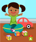 Illustration of Girl with Car and Toy Blocks
