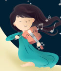 Illustration of Girl Playing Violin at Night