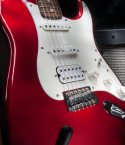 Red and White Electric Guitar with Speaker