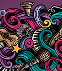 Graffiti Style Music Symbols with Swirls