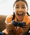 Girl with Video Game Controller