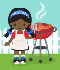 Illustration of Girl Cooking at Grill