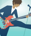 Illustration of Young Man with Guitar Jumping