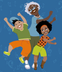 Illustration of Grandmother and Two Children Dancing