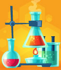 Illustration of Beakers Filled with Colorful Liquid