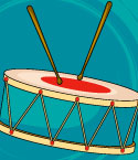 Illustration of Drum with Drumsticks