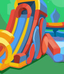 Illustration of Inflatable Slide and Castle
