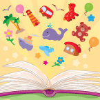 Illustration of Book with Toys Above It