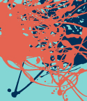 Red and Dark Blue Splatters on Cyan Background