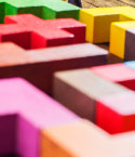 Close Up of Colorful Puzzle Pieces