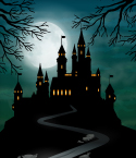 Spooky Hilltop Castle with Full Moon