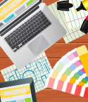 Laptop with Graphic Design Tools