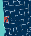 Close Up of Map of Indiana with Location Markers on Vigo County
