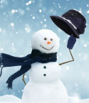 Snow Man with Blue Scarf, Gloves and Hat