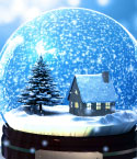 Snow Globe Containing House and Evergreens