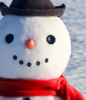 Snowman with Black Hat and Red Scarf