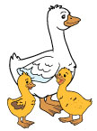 Mother Goose with Two Gooslings