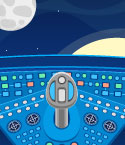 Space Ship Control Panel Overlooking Moon and Sun