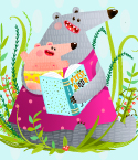 Mother Bear Reading to Bear Cub in Grass