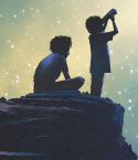 Two Children Observing the Sky on a Cliff
