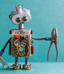 Robot Made of Spare Parts with Pliers