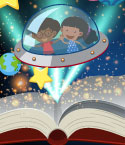 Two Children in UFO Flying Above an Open Book