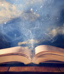 Open Book with Stars and Swirls