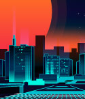 Red Sun Behind Futuristic City