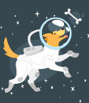 Dog in Space Suit Chasing Bone in Space