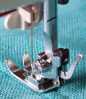 Sewing Machine Foot with Blue Cloth