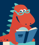 Cartoon Dinosaur with Glasses Reading a Book