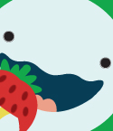 Illustration of Awbie with a Strawberry