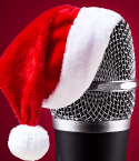 Microphone Wearing a Santa Hat