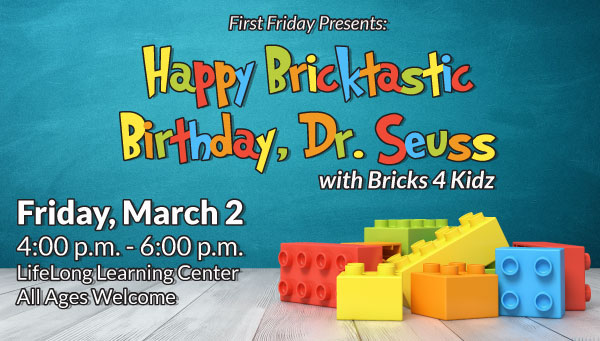 Colorful Plastic Bricks with Happy Bricktastic Birthday Dr. Seuss Information