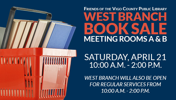 Books in Red Basket with Friends of the Library West Branch Book Sale Information