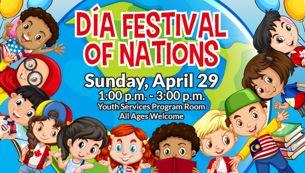 Multicultural Children with Globe and Dia Festival of Nations Information