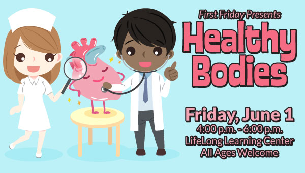 Illustration of Happy Heart Being Examined by Nurse and Doctor with First Friday: Healthy Bodies Information