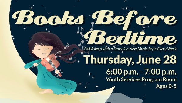 Illustration of Girl Playing Violin at Night with Books Before Bedtime Information