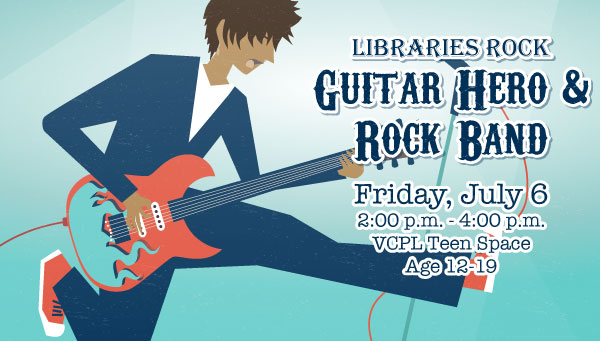 Illustration of Young Man with Guitar Jumping with Libraries Rock: Guitar Hero & Rock Band Information
