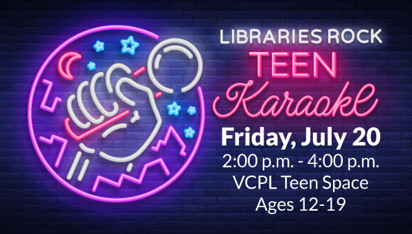 Neon Sign of Hand Holding Microphone with Libraries Rock: Teen Karaoke Information