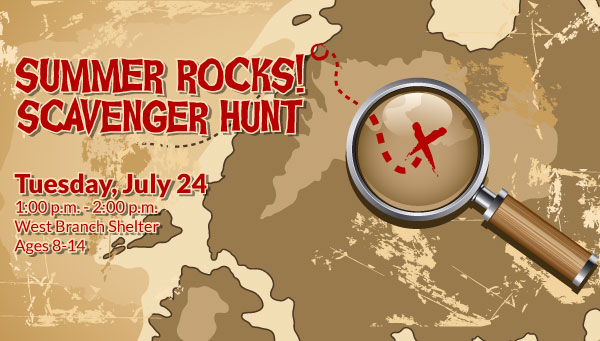 Illustration of Magnifying Glass Over an X on a Map with Summer Rocks Scavenger Hunt Information