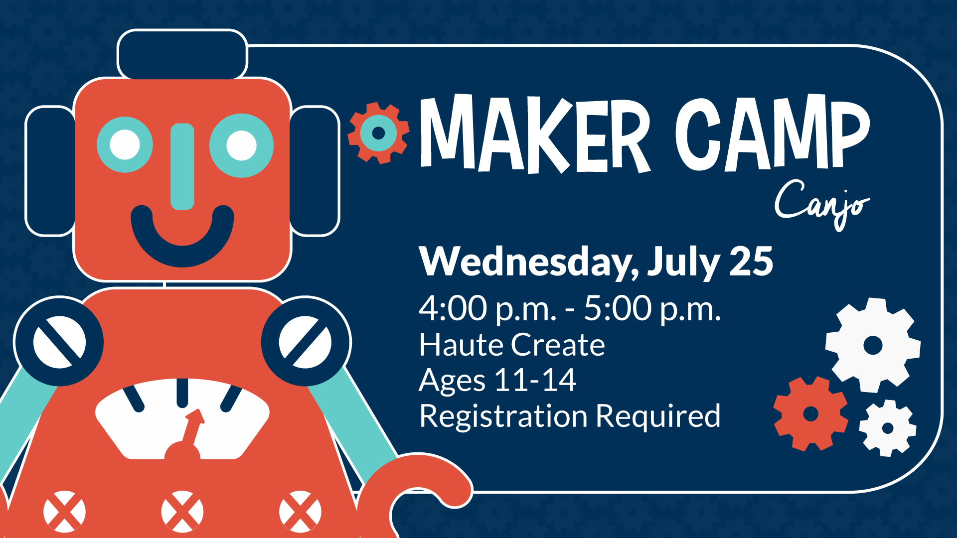 Illustration of Red Toy Robot with Maker Camp Information