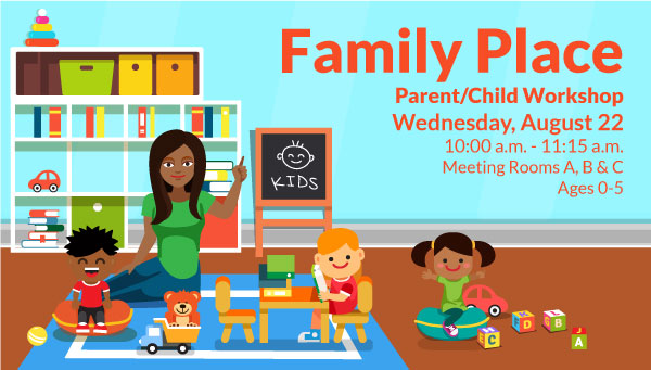 Illustration of Children and Woman with Toys with Family Place Information