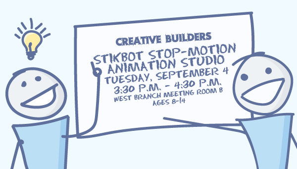 Two Stick Figures with Creative Builders Information